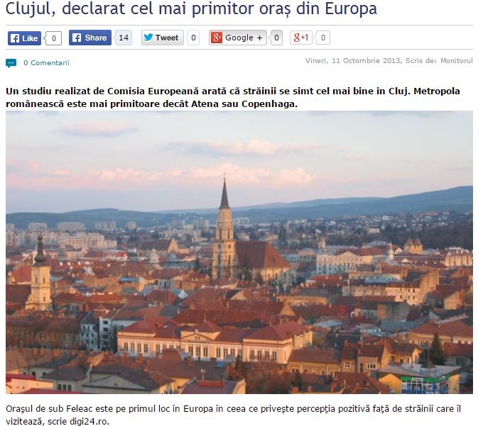 Cluj cel mai primitor oras din Europa